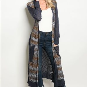 Sweaters - Navy Long Sleeve Open Front Duster